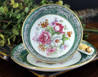 Teacup and Saucer, Japanese Tea Cup,  Green Banded with Mixed Florals, Porcelain Cups 14002