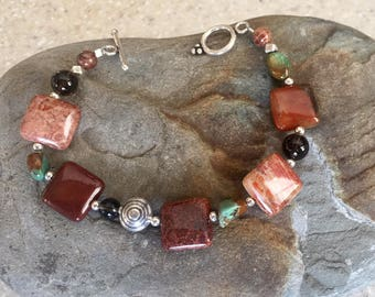 Red Fossilized Coral Smokey Quartz  Turquoise Bracelet with Thai and Sterling Silver Beads