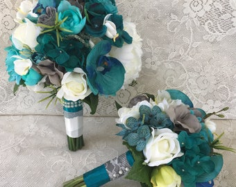 Wedding bouquet,Teal bouquet,Bridal bouquet,Turquoise Bridal bouquet,Tropical bouquet,Beach Wedding,Grey bouquet,Wedding accessory