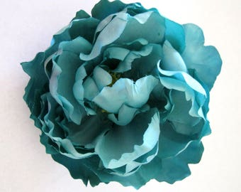 Full Aqua Turquoise Peony Silk Flower Brooch Pin