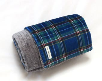 Adult - Teen - Toddler - Baby - Navy Plaid/Charcoal Stripe Minky Blanket - Large Throw