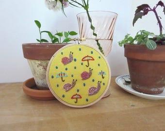 Rain Embroidery Snails Umbrella Embroidery Small Hoop Art Yellow Art