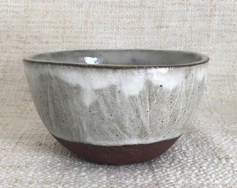 Stoneware tea bowl | terracotta + glossy white
