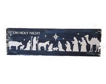 Nativity Block Sign, Oh Holy Night, Christmas, Holiday Decor, Gift