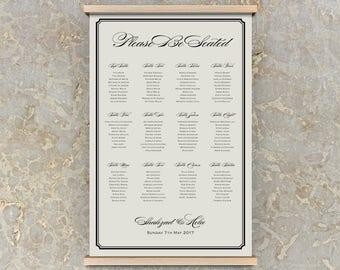 printable seating chart template, printable seating chart for wedding, seating plan, diy wedding seating chart template