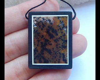 Petrified Wood Opal,Obsidian Intarsia Pendant Bead,31x24x5mm,9.1g(h0117)
