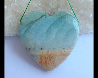 Reserved For Lisa J!!! Natural Ocean Jasper Gemstone Heart Pendant Bead,39x39x8mm,20.4g(h0970)