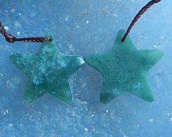 Moss Agate Gemstone Star Earring Bead,20x2mm,2.22g(CE030)