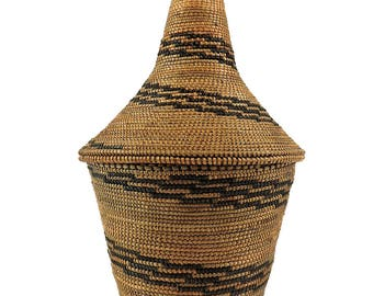 Tutsi Basket Lidded Tight Weave Rwanda African Art 107287