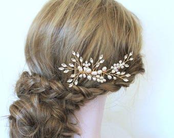 Gold Freshwater Pearl Delicate Hair Vine Comb. Bridal Flower Crystal Boho Leaf Headpiece. Rhinestone Wedding Hair Clip, Pin,Tiara. VALENTINA