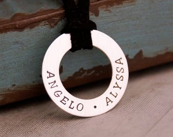 Fathers Day Gift / Jewelry for Men / Gift for Dad / My Kids Washer / Hand Stamped Sterling Silver Adjustable Necklace