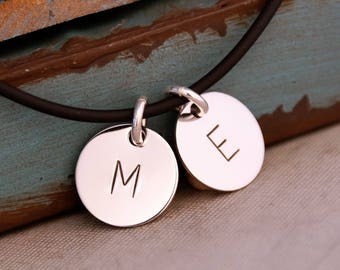 Sterling Silver Initial Necklace / Men Jewelry / Jewelry for Daddy with kids initials / Daddy Necklace