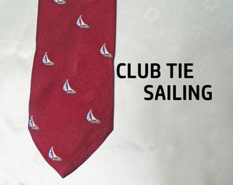 Nautical Necktie is an 80s Club Tie, a Sailing Club Necktie with Sailboats, Cordovan Color Medium Width Tie Gift for Him 2017