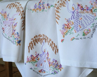 Vintage White Hand Embroidered Tablecloth Crinoline Ladies Flowers Willow Trees Cottage Garden Flowers