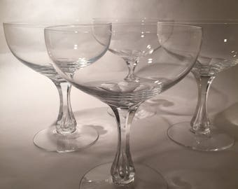 4 Vintage Crystal Champagne Coupes