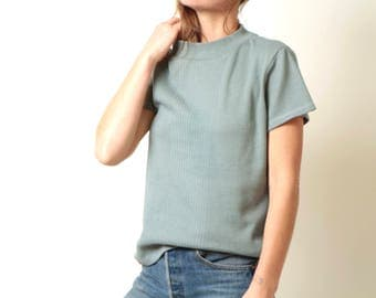 vintage BOXY slouchy SAGE colored FADED mock turtleneck pullover shirt vintage 90s y2k fashion size medium oversize