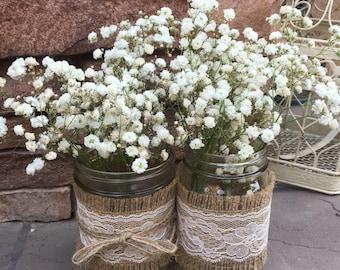 Mason Jar Wrap, IVORY Lace & Burlap, Mason Jar Decoration, Baby Shower, Party,  Wedding Decoration