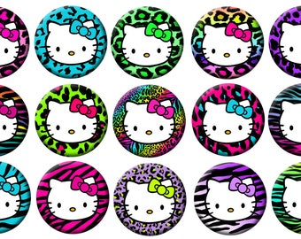 "2-1/4"" -  HELLO KITTY Wild Animal Print -  Lot of 15 Buttons - Pin Back Button Badge"