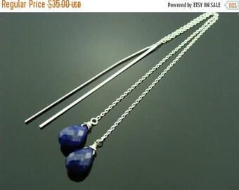 Genuine Lapis Lazuli 925 Sterling Silver Ear Threads