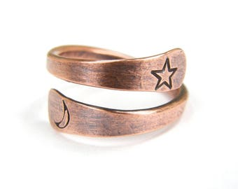 Star and Moon Copper Ring, Metal Stamped Copper Ring, Moon and Star Copper Wire Ring, Made To Order