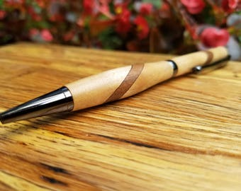 Maple & Walnut Wood Pen, Unique Pen, Christmas Gift, Gift Idea, Collectible Pen, Hand Turned Pen, Handcrafted Pen, Anniversary Gift