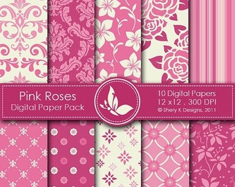 40% off Pink Roses Paper Pack - 10 printable Digital Scrapbooking papers - 12 x12 - 300 DPI