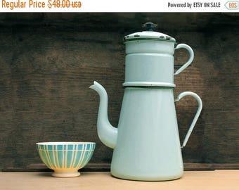 Very large Completed French Vintage aqua enamel coffee pot, light blue  tea pot, enamelware