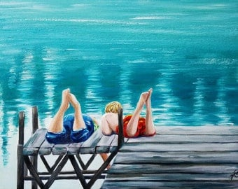 Oil Painting, The DOG DAYS of SUMMER, Original Oil Painting, kids, lake, children, swimsuits, blue, teal, aqua, art, signed by the artist