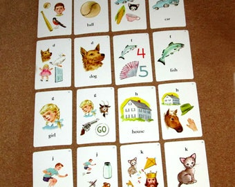 Vintage PHONICS Flashcards by Whitman Animals Words Letters Alphabet Cards Education Learning