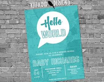 Adventure awaits baby shower invitation Hello world gender neutral reveal map rustic chic thought bubble sip see world aqua blue 1481b