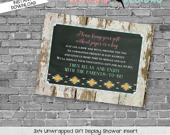 display shower insert   unwrapped gift enclosure card   rustic shower invitations gender neutral   he or she gender   1439 katiedid designs
