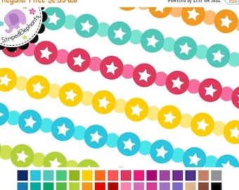 40% OFF SALE Digital Clip Art - Circle Star Digital Ribbons - Instant Download - Commercial Use
