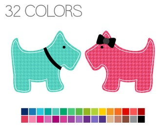 Houndstooth Scotty Dog Clip Art - Dog Digital Clipart - Instant Download - Commercial Use