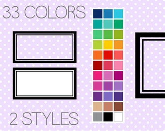 Line Rectangle Clip Art Labels - Printable Labels - Printable Frames - Digital Frames - Clipart Frames - Instant Download - Commercial Use