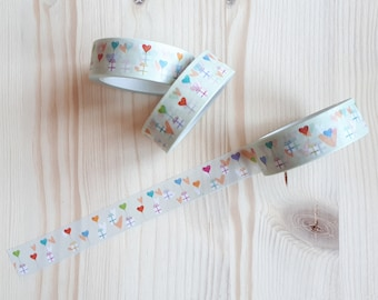 Colorful Gift and Hearts Washi Tape - Cute Gift and Hearts Washi Tape - Pastel Gift and Hearts Washi Tape - Japanese Masking Tape - 10 mt