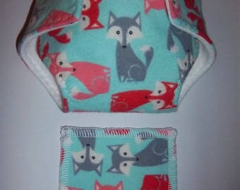 Baby Doll Diaper/wipes - cute posed foxes, brick, gray on medium turquoise - See Shop Special - adjustable  many dolls such as bitty baby