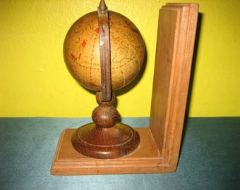 Vintage Desk Top & Book Rack Wooden Book End w/ Rotating World Globe