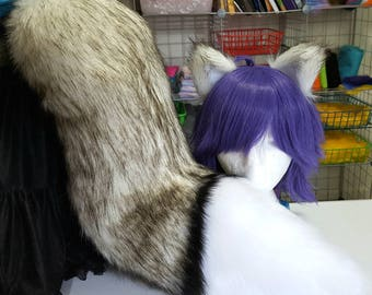 Black and White Siberian Husky Tail with Matching Ears Set