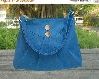 On Sale 20% off blue cotton canvas purse / cross body bag / messenger bag / shoulder bag / diaper bag