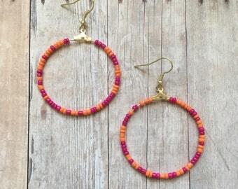 Pink and orange beaded dangle hoop earrings, beaded summer earrings, pink beaded earrings, orange beaded earrings, pink and orange earrings
