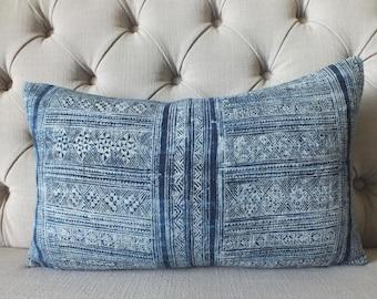 Vintage Indigo batik Hemp, Hmong cushion cover, Handwoven Hemp Fabric,Scatter cushions