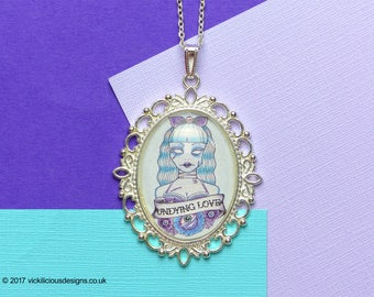 Undying Love Zombie Tattoo Handmade Glass Cabochon Silver Necklace