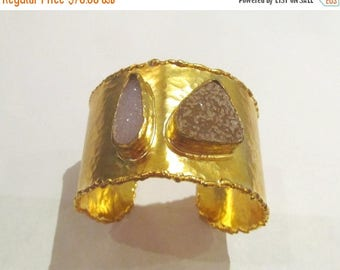 SUMMER Sale CLEARANCE  Two druzy gold cuff