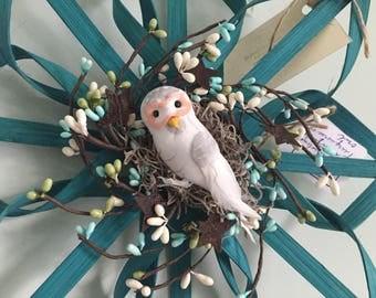 "Teal Wreath Alternative 12"" with White Owl"