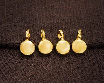 4 of 925 Sterling Silver 24k Vermeil Style Round Disc Charms  5.5 x 2.2 mm.  :vm1056