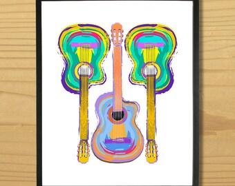 Guitar Wall Art, Guitarist Print, Music Art, Musician Print, Rock Guitar, Acoustic Guitar, Digital Download