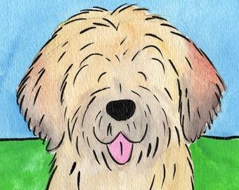 Whimsical tibetan terrier  print   5x7