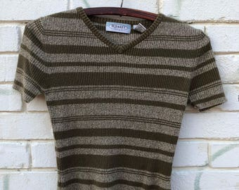 Vintage 90s Ribbed Knit Sweater Shirt Crop Top- Size XS / S