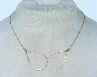 Vintage Signed 14KT 14 Karat Gold Filled Interlocked Teardrop Link Modern Minimalist Saturn Chain Necklace