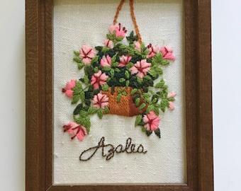 Vintage crewel framed, small floral crewel picture, Azalea crewel framed, vintage flower wall art, Vintage crewel, boho wall art,boho home